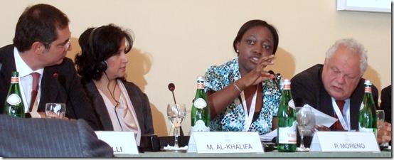 Paula Moreno speaking at UNESCO World Forum