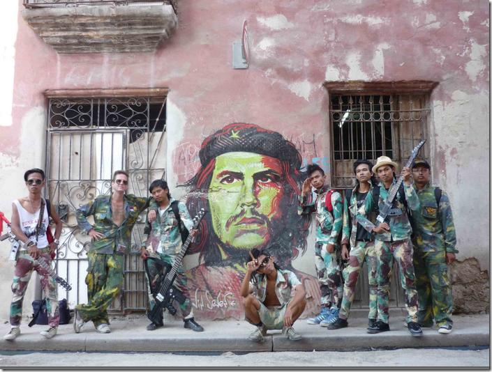 Danius Kesminas with fellow Punkasila band members in Havana, Cuba (supplied by artist)