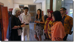Liz Williamson talking with Chinese and Indonesians