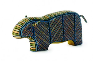 Mark Virgil Puautjimi, Tiwi Design, 2005, Buffalo, earthenware, underglaze decoration, 270 x 220 x 70 mm