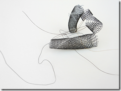 Vicky Shukuroglou object [BHH] steel wire, horse hair [double bass bow] 150 x 130 x 130mm [variable]