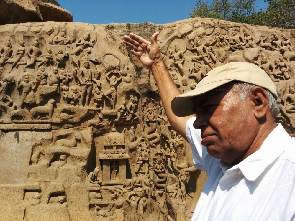 S. Swaminathan giving his learned analysis of the Mamallapuram sculptures.