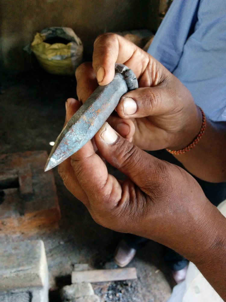 The chisel has to be sharpened hourly. There are men employed full time just to keep them sharpened all day.